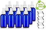 Cobalt Blue 4 oz Boston Round PET Bottles (BPA Free) with White Fine Mist Sprayer (12 pack) + Labels