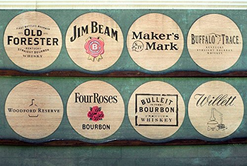 "Wood Wall Art Photography - Bourbon Themed Decor: Kentucky Bourbon Barrel Lids 11""x17"""