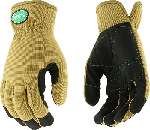 West Chester Scotts SC86111 Touchscreen Technology Hi-Dex Gloves, Spandex Back, Padded Palm, Large, Tan
