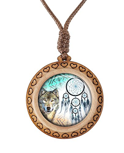 Supremecom Custom Original Wooden Handmade Glass Pendant Adjustable Necklace (Dreamcatcher Wolf-3)