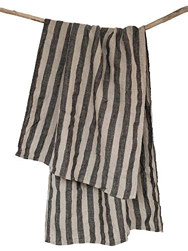 "Huckaback Striped Linen Bath Towel - 26.5"" x 58"" Beach Pool or Sauna 100% Natural Black Linen Thick Stone-washed"