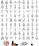 50pcs Mix Stainless Steel Tones Alloy Bead Cage Pendant - Add Your Own Pearls, Stones, Rock to Cage,Add Perfume and Essential Oils to Create a Scent Diffusing Locket Pendant Charms
