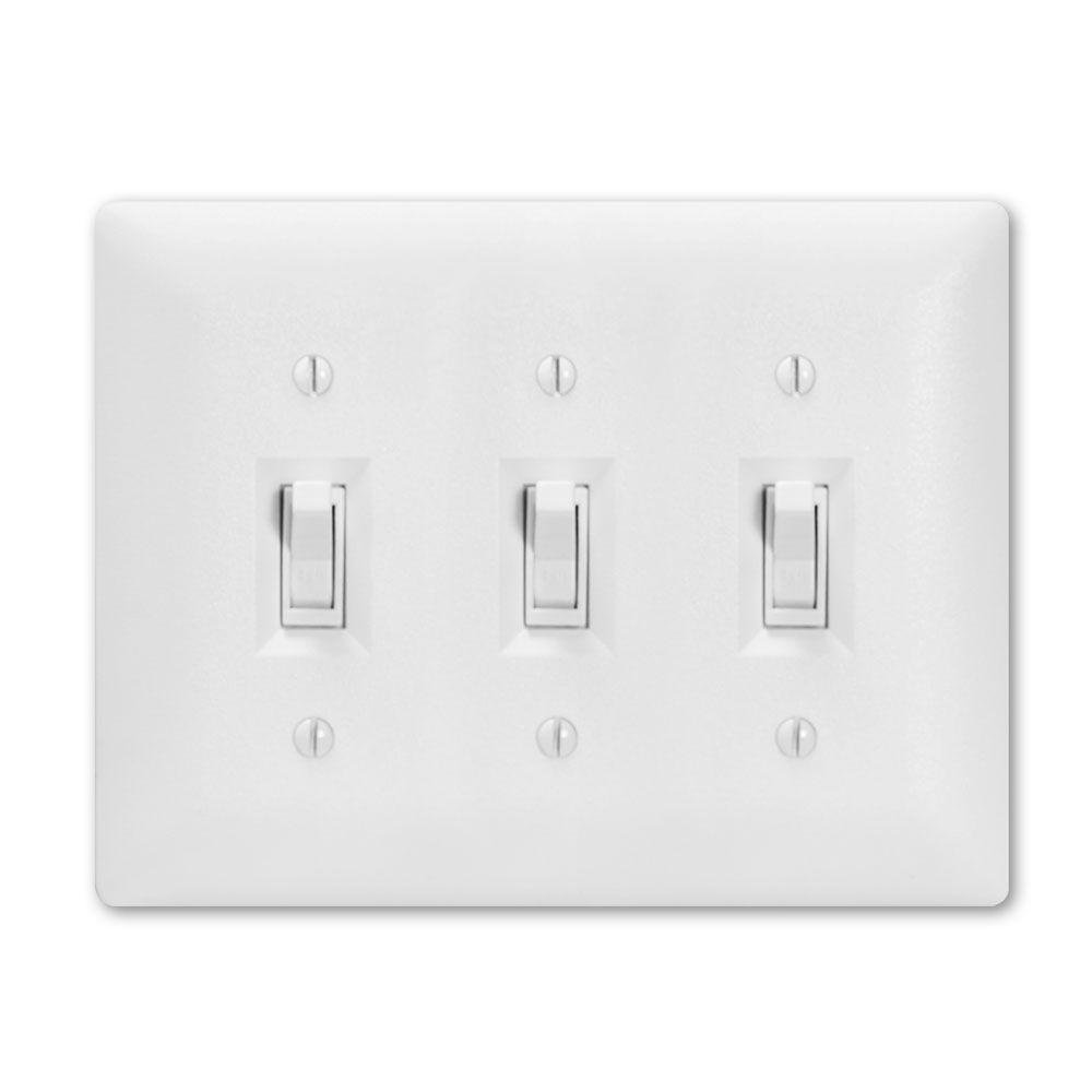 Taymac 4440W Paintable Triple Toggle Light Switch Wall Plate Cover, White, 3-Gang