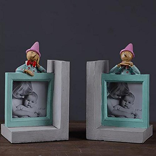 LPY-Set of 2 Bookends Resin Photo frame Style Handicrafts, Book Ends for Office or Study Room Home Shelf Decorative by Crafts