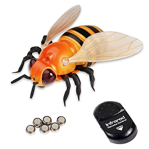 NiGHT LiONS TECH Novelty insect Infrared Remote Control Realistic Fake bee Animal Toy Funny RC Prank joke scary trick toys For Party or Halloween April Fools' (Halloween Bee Scale)