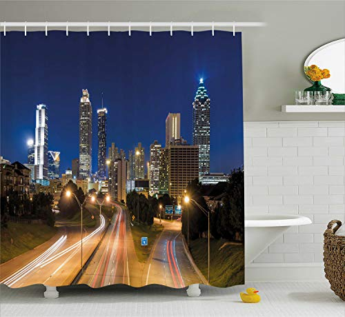 Ambesonne Urban Shower Curtain, Image of Atlanta Skyline Twilight with Highway Buildings Skyscrapers Blurred Motion, Fabric Bathroom Decor Set with Hooks, 70 Inches, Navy Gold