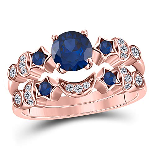 (DreamJewels 1.50 ct Round Cut CZ Blue Sapphire 14k Rose Gold Plated Moon and Star Wedding Engagement Bridal Set Rings for Her)