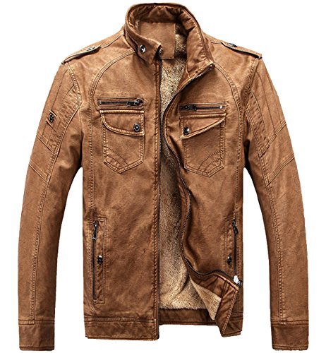 Men's Vintage Fleece PU Faux Leather Jacket Casual Thick Zip Up Winter Moto Coat Brown X-Large