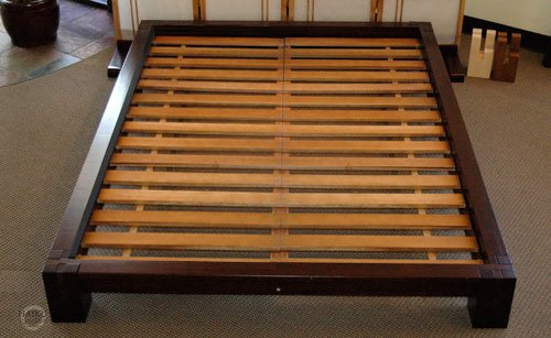 Raku Japanese Style Tatami Platform Bed In Dark Walnut