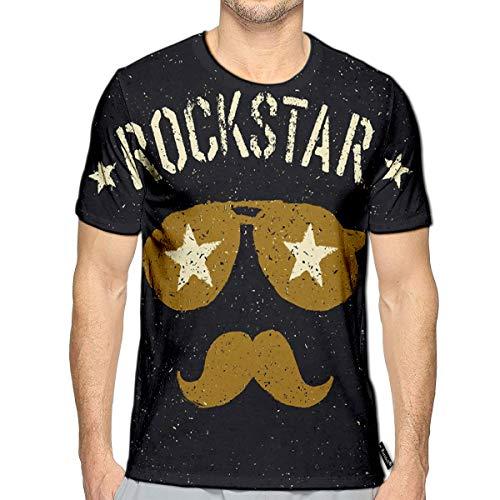Randell 3D Printed T-Shirts Rockstar Sunglasses Stars Moustache Short Sleeve Tops ()