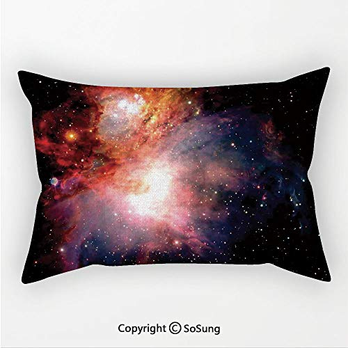 SoSung Space Decorations Linen Car Neck Pillow,Space Nebula After Super Nova Celestial Explore The Cosmos in The Universe Print,13.7x7.8Inches,for Sofa Bedroom Car & Home Decorate Black Orange