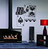 Playing Cards Poker Playing Chips Kids Room Children Stylish Wall Art Sticker Decal G8568