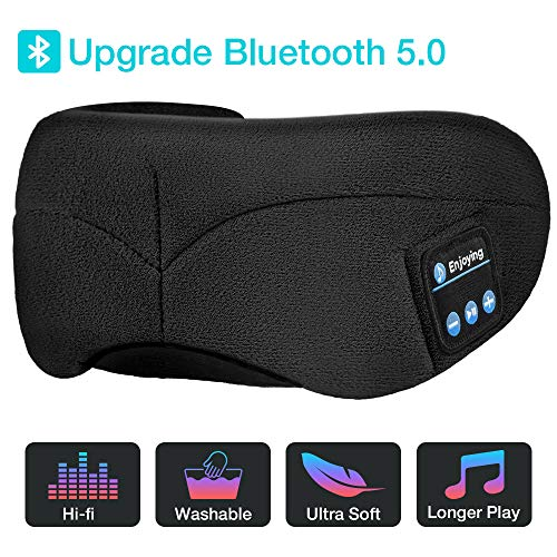 Sleep Headphones Bluetooth Eye Mask, Upgrade Soft Sleeping Wireless Eye Mask with Built-in Bluetooth 5.0 Speakers Microphone,Music Eye Covers Headset with Adjustable, Washable, Long Playtime