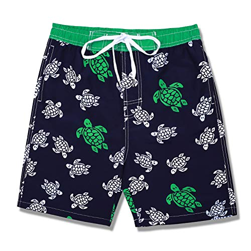 Kute 'n' Koo Boys Swim Trunks, UPF 50+ Quick Dry Boys Swim Shorts for Big Boys and Toddlers, Size from 2T to 18/20 (3T, Sea Turtles)