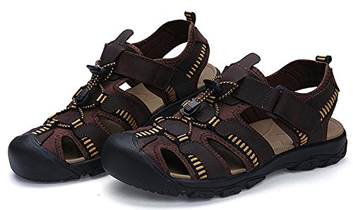 Mens Fermé Orteil Pêcheur Été Sandales Sports De Plein Air Eau Chaussures Marron