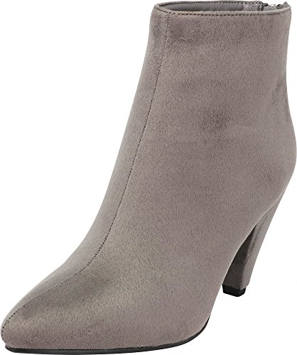 Cambridge Select Women's Closed Pointed Toe Chunky Cone Heel Ankle Bootie,7 M US,Grey IMSU -