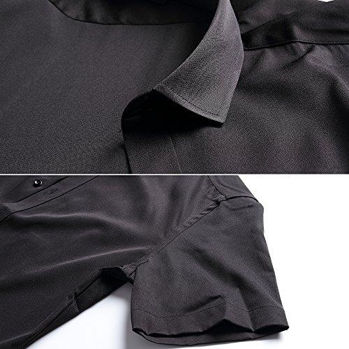 Pour Ajustée Formel shirt T Fibre Taille Chemise Hommes Rouge En De Courtes Homme Inflation Bambou Manches Élastique 681wwUq