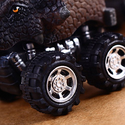 Pull Back Dinosaur Cars, Pawaca 4-Pack Dino Cars Toys with Big Tire Wheel for 3-14 Year Old Boys Girls Creative Gifts for Kids