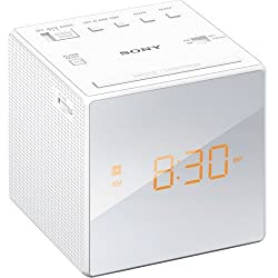 Sony AM/FM Compact Alarm Clock Radio with Easy to Read, Backlit LCD Display, Battery Back-Up, Adjustable Brightness Control, Programmable Sleep Timer, Daylights Savings Time Adjustment, (White)