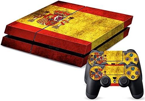 Lámina con bandera de España diseño retro para consola PlayStation 4 (para ambos lados + bordes/pegatina del cuerpo completo) y para 2 controladores, pegatinas adhesivas para consola de juegos PS4: Amazon.es: Electrónica