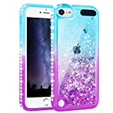 Maxdara Case for iPod Touch 6 iPod Touch 5 Generation Glitter Liquid Case for Girls Women with Bling Sparkle Rhinestone Diamond Soft TPU Luxury Pretty Fashion Case for Touch 6th 5th (Teal Purple)