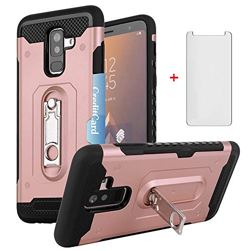 Phone Case for Samsung Galaxy A6 Plus J8 2018 with Tempered Glass Screen Protector Cover Cell Accessories Credit Card Holder Wallet Kickstand Heavy Duty Protective Glaxay A6Plus Women Girls Rose Gold