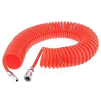 12 Meters Long 8mm x 5mm Polyurethane Coiled Air Hose Pipe Orange by Houseuse