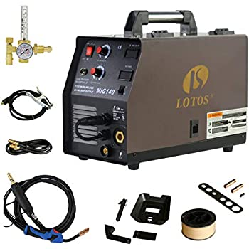 new style 2b185 94c3a Lotos MIG140 140 Amp MIG Wire Welder Flux Core Welder and Aluminum Gas  Shielded Welding with 2T4T Switch, 110V, Red