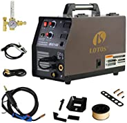LOTOS MIG140 140 Amp MIG Wire Welder, Flux Core & Aluminum Gas Shielded Welding with 2T/4T Switch Argon Re