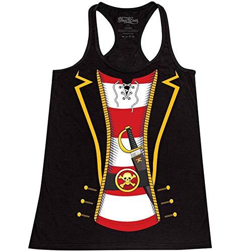 - Shop4Ever Pirate Buccaneer Costume Stripe Women's Racerback Tank Top X-Small Heather Black 0