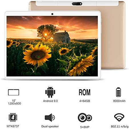 Tablet 10 inch, Android 9.0 Pie Tablets PC 4GB RAM 64GB ROM, Quad Core Processor, IPS HD 10″ Display, 8MP Dual Camera, Dual 4G SIM, 8000mAh Battery, WiFi, Google GMS Certified – Gold 514uSGkE4SL