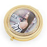 Custom Compact Mirror By Jinvun | Personalized Purse Pocket Mirror With 1x & 3x Magnification | 300 Breathtaking Crystals & Diamond Clasp | Unique Birthday Or Anniversary Gift Idea For Women