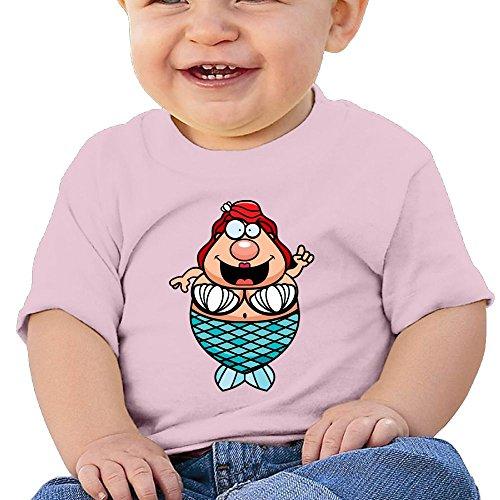 Chengrangst Cartoon Mermaid Toddler/Infant Short Sleeve Cotton T Shirts Pink 18 - Uk Packages Triathlon