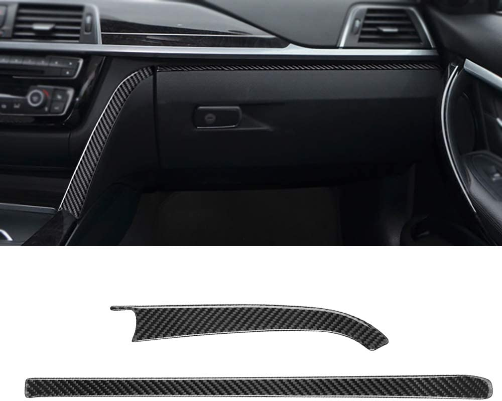 MICOOS Compatible with Carbon Fiber Toolbox Decoration Trim Automotive Interior Accessories for BMW 3 4 Series GT F30 2013 2014 2015 2016 2017 2018 2019 2Pc Black
