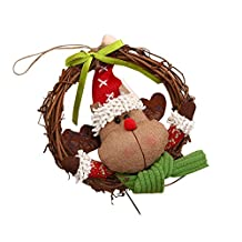 Luxury Merry Christmas Party RED Santa Snowman Dried Grapevine Wreath Door Wall Decoration (Multicolor C)