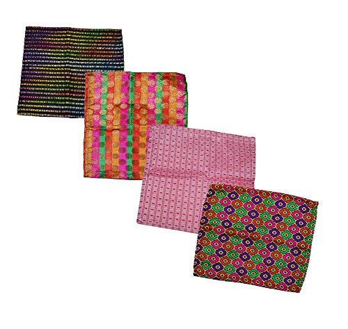 Ana'z Pocket Square Set of 4 Multicolor Handkerchief Men's Fashion Accessory by Ana'z (Image #1)