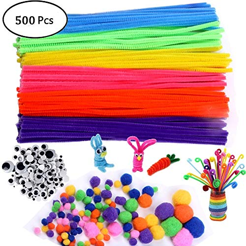 Self 200 Adhesive (500Pcs Pipe Cleaners Craft Set,Including 100 Pcs Chenille Stems 200 Pcs Pom Poms Craft 200 Pcs Wiggle Googly Eyes Self Adhesive,Assorted Colors and Assorted Sizes for DIY Art Craft)