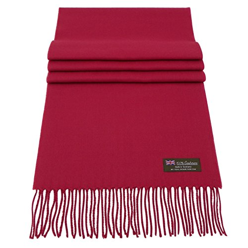 Rosemarie Collections 100% Cashmere Winter Scarf Made In Scotland (Berry Red) ()
