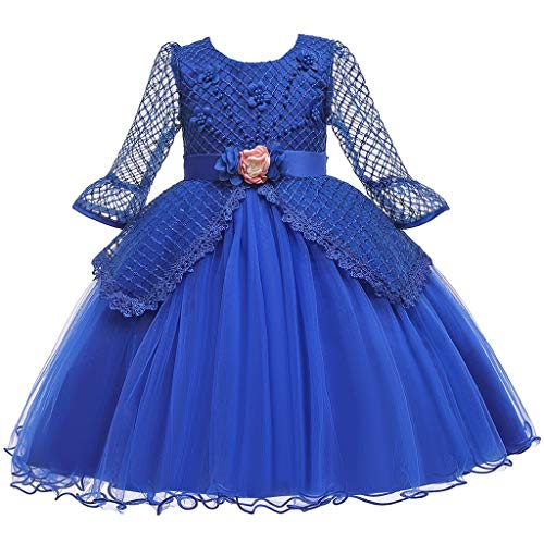 Sunhusing Adorable Baby Girls Pearl Beading Mesh Splicing Long Sleeve Flower Tulle Tutu Skirt Princess Dress(Blue,9-10T) (Blue Jeans Skirt Made By Rave)