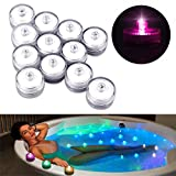 Underwater Tea Lights, Small Submersible LED Lights,Waterproof Battery Festival Celebration Flameless Light for Glass vase, Bowls, Aquarium and Party Wedding Decoration 12packs