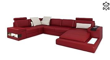 Sofa Couch Leder Rot Weiss U Form Wohnlandschaft Ledersofa