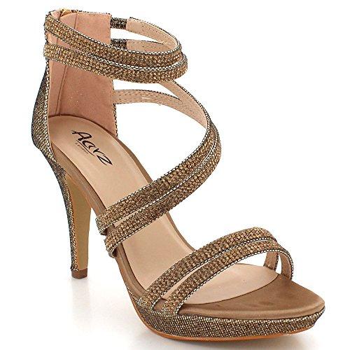 Taille Sandales Soir Chaussures Toe Femmes De Bal Marron Open Haut Briller Mariage de Dames Talon mariée Fête TqwSqOIZx