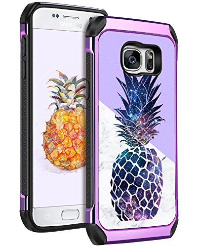 YINLAI Galaxy S7 Case, Samsung S7 Case Slim Hybrid Soft TPU Bumper Hard PC Chrome Leather Cover with Cute Marble Pineapple Pattern Protective Phone Cases for Girls Women Samsung Galaxy S7 Purple