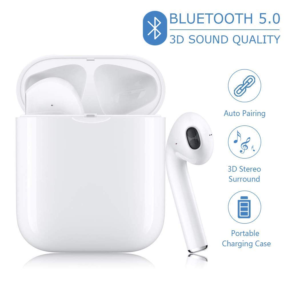Bluetooth 5.0 Headset Wireless Earbuds Bluetooth Headphones 3D Stereo IPX5 Waterproof Pop-ups Auto Pairing for Airpods Android iPhone White