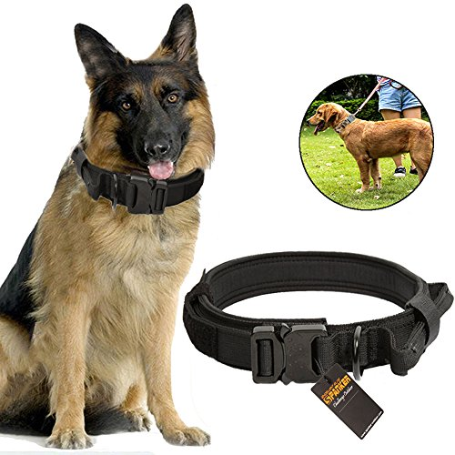 ylon Dog Collar Military Tactical Training with Control Handle, Metal Buckle & ID Tag 1.5inch (Black) ()