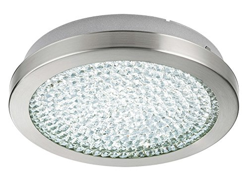 1x10.8W LED Ceiling Light w/Matte Nickel Finish &White Glass w/Clear Crystals