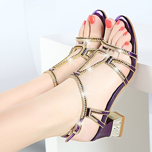 Mode High Hacken 5 Heels Sandalen Grob High KHSKX Diamond Cm Heels Diamanten Mit Violet 5WUzqwT07