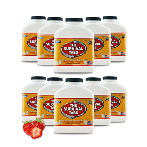 Survival Tabs 15-Day Food Supply x 10 Bottles Gluten Free And Non-Gmo 25 Years Shelf Life - Strawberry Flavor ()