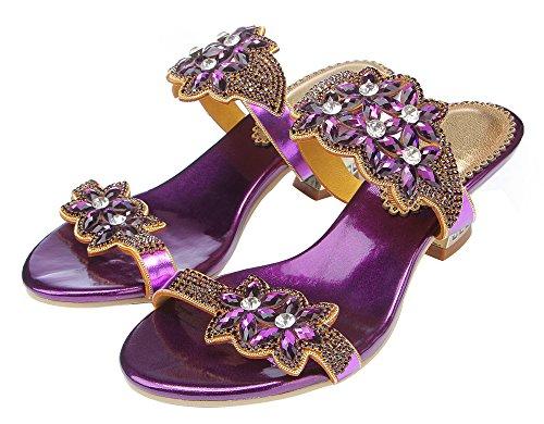 Sandalen Form Violett Damens Honeystore Offen Strass Ferse Blumen Handgemacht nqO4x1704