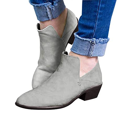 4c57a4bb79e Amazon.com | Huiyuzhi Booties Women Ankle Heels Cut Out Low Heel ...